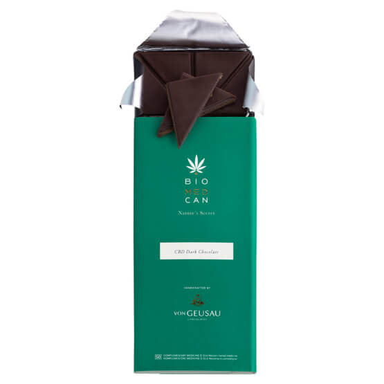 Open bar of BIOMEDCAN Dark Chocolate with pieces