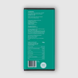 Back of 100g BIOMEDCAN Dark Chocolate bar