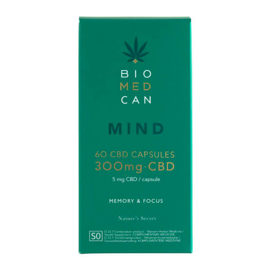 Front of Biomedcan MIND CBD capsules packaging