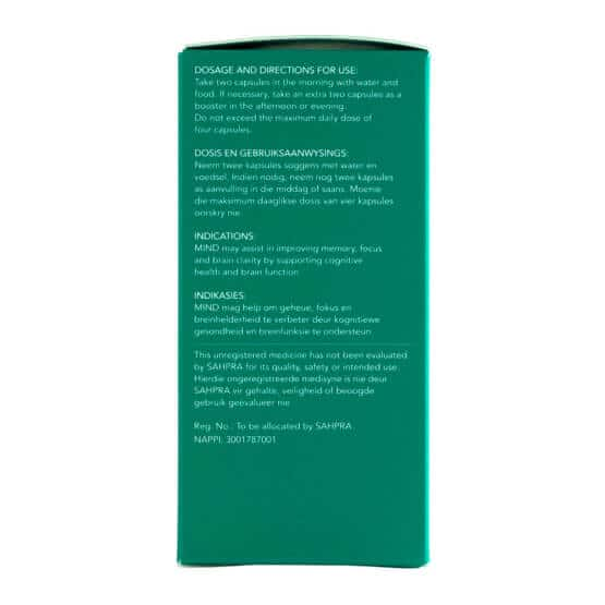Side of Biomedcan MIND CBD capsules packaging with dosages
