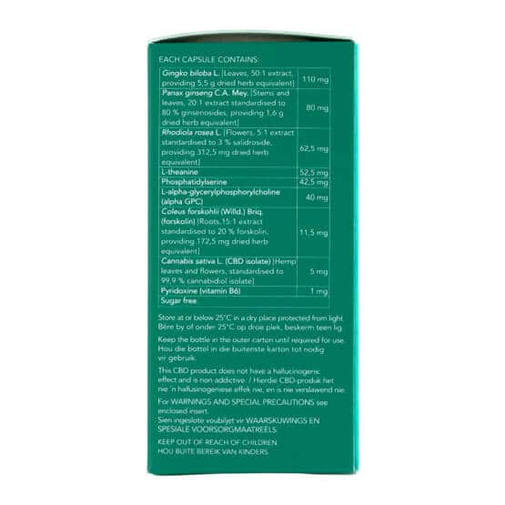 Side of Biomedcan MIND CBD capsules packaging with ingredients
