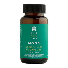 Bottle of Biomedcan MOOD CBD capsules