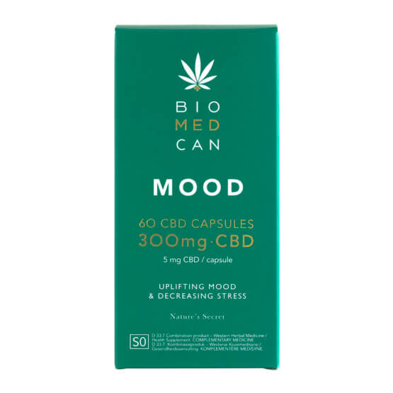 Front of Biomedcan MOOD CBD capsules packaging