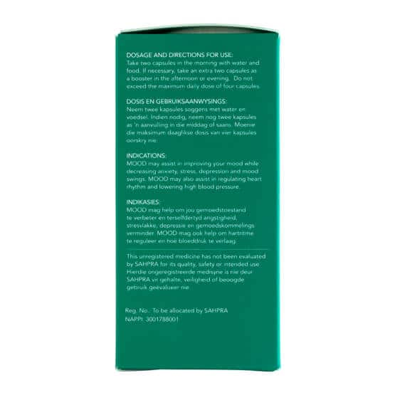 Side with doses of Biomedcan MOOD CBD capsules packaging