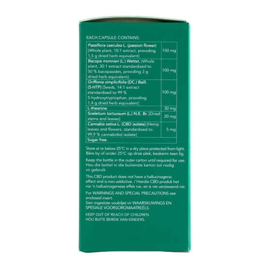 Side with of Biomedcan MOOD CBD capsule ingredients