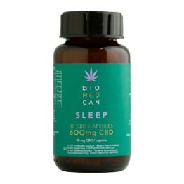 Bottle of Biomedcan SLEEP CBD capsules