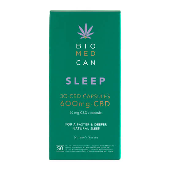 Front of Biomedcan SLEEP CBD capsules packaging