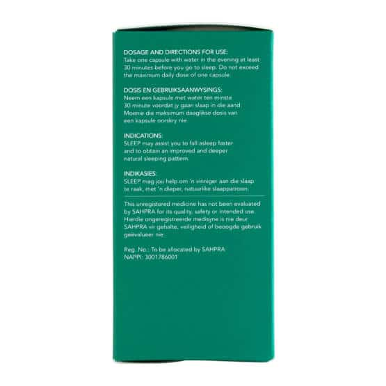 Side with dosages of Biomedcan SLEEP CBD capsules packaging