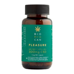 Bottle of Biomedcan PLEASURE CBD capsules