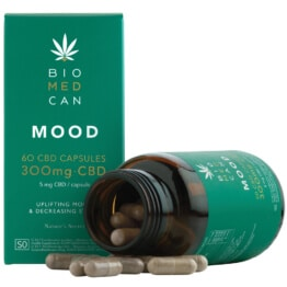 Biomedcan mood CBD capsules open bottle