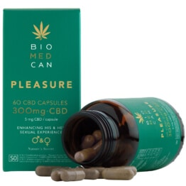Biomedcan pleasure CBD capsules open bottle