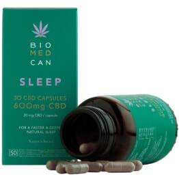 Biomedcan sleep CBD capsules open bottle