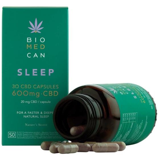 Biomedcan sleep CBD capsules open bottle